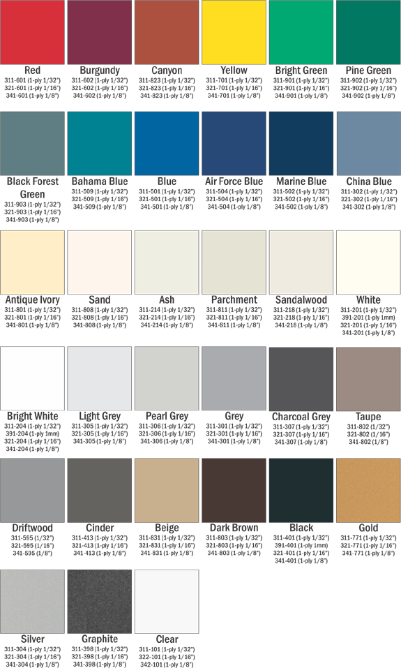 Americans with Disabilities Act (ADA) Interior Signs color chart choices.