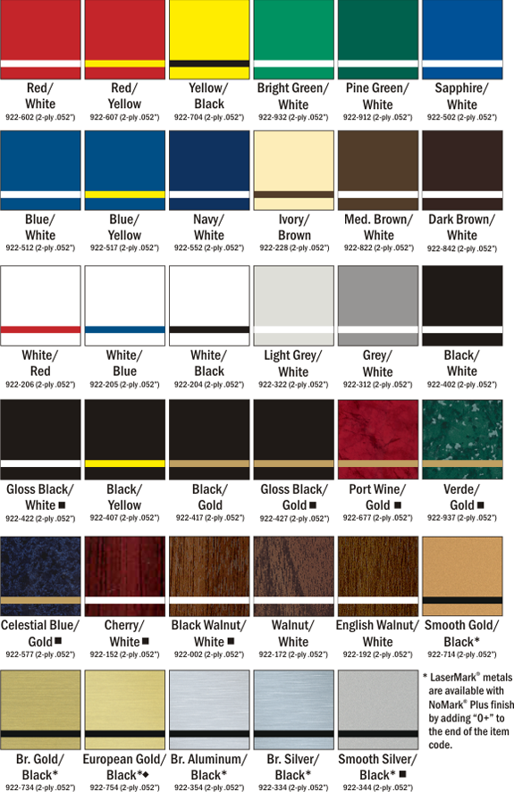 LaserMark Color Chart Choices at Quality Signs & Engraving.