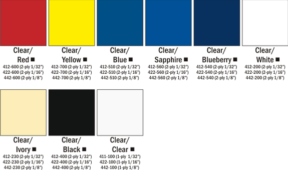 Slickers Color Chart Choices at Quality Signs & Engraving.