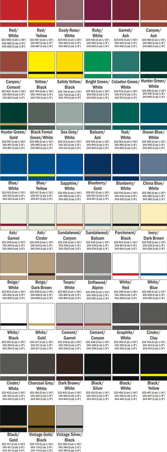 Ultra Matte Front Engravable Color Chart Choices at Quality Signs & Engraving.